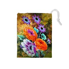 Flowers Artwork Art Digital Art Drawstring Pouches (medium)