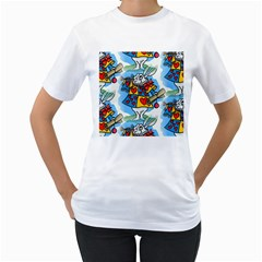 Seamless Repeating Tiling Tileable Women s T Shirt (white) (two Sided)