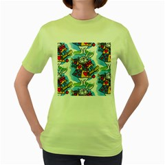 Seamless Repeating Tiling Tileable Women s Green T Shirt