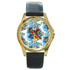 Seamless Repeating Tiling Tileable Round Gold Metal Watch