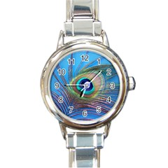 Peacock Feather Blue Green Bright Round Italian Charm Watch