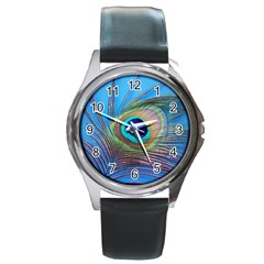Peacock Feather Blue Green Bright Round Metal Watch