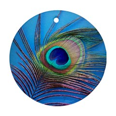 Peacock Feather Blue Green Bright Ornament (round)