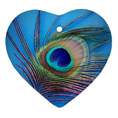 Peacock Feather Blue Green Bright Ornament (heart)