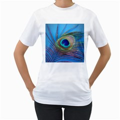 Peacock Feather Blue Green Bright Women s T Shirt (white) (two Sided)