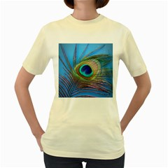 Peacock Feather Blue Green Bright Women s Yellow T Shirt