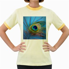 Peacock Feather Blue Green Bright Women s Fitted Ringer T Shirts