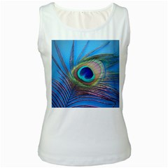 Peacock Feather Blue Green Bright Women s White Tank Top