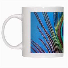 Peacock Feather Blue Green Bright White Mugs