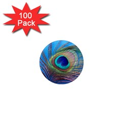 Peacock Feather Blue Green Bright 1  Mini Magnets (100 Pack)