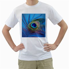 Peacock Feather Blue Green Bright Men s T-Shirt (White) (Two Sided)