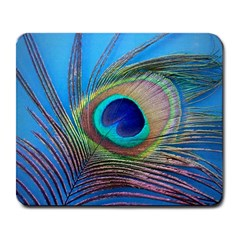 Peacock Feather Blue Green Bright Large Mousepads