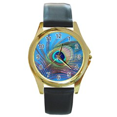 Peacock Feather Blue Green Bright Round Gold Metal Watch