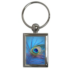 Peacock Feather Blue Green Bright Key Chains (Rectangle)