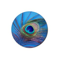 Peacock Feather Blue Green Bright Rubber Coaster (round)