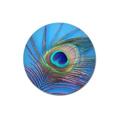 Peacock Feather Blue Green Bright Magnet 3  (Round)