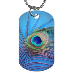Peacock Feather Blue Green Bright Dog Tag (one Side)
