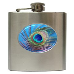Peacock Feather Blue Green Bright Hip Flask (6 oz)
