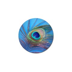Peacock Feather Blue Green Bright Golf Ball Marker