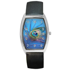 Peacock Feather Blue Green Bright Barrel Style Metal Watch
