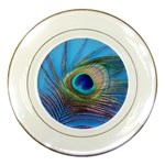Peacock Feather Blue Green Bright Porcelain Plates Front