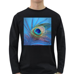 Peacock Feather Blue Green Bright Long Sleeve Dark T Shirts