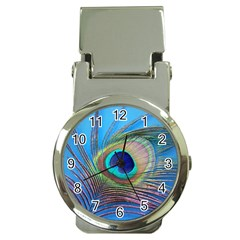 Peacock Feather Blue Green Bright Money Clip Watches