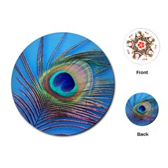 Peacock Feather Blue Green Bright Playing Cards (round)