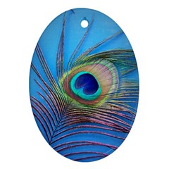 Peacock Feather Blue Green Bright Oval Ornament (two Sides)