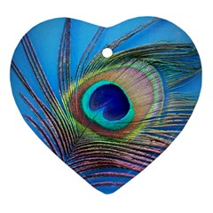 Peacock Feather Blue Green Bright Heart Ornament (two Sides)