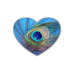 Peacock Feather Blue Green Bright Heart Coaster (4 Pack)