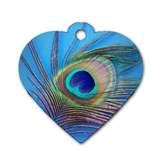 Peacock Feather Blue Green Bright Dog Tag Heart (two Sides)