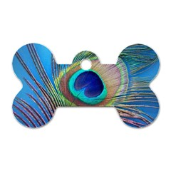 Peacock Feather Blue Green Bright Dog Tag Bone (two Sides)