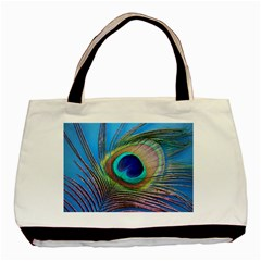 Peacock Feather Blue Green Bright Basic Tote Bag (Two Sides)