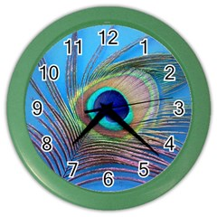Peacock Feather Blue Green Bright Color Wall Clocks