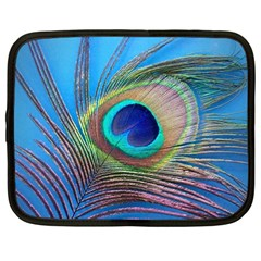 Peacock Feather Blue Green Bright Netbook Case (large)