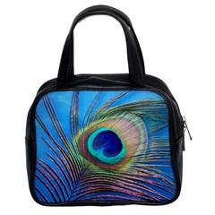 Peacock Feather Blue Green Bright Classic Handbags (2 Sides)