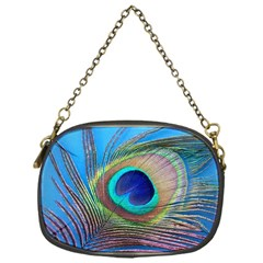 Peacock Feather Blue Green Bright Chain Purses (one Side)