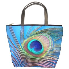 Peacock Feather Blue Green Bright Bucket Bags