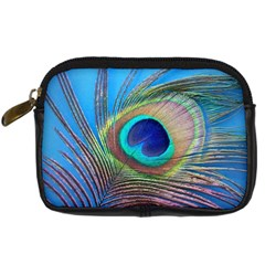Peacock Feather Blue Green Bright Digital Camera Cases