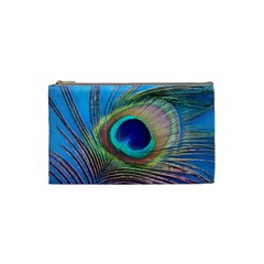 Peacock Feather Blue Green Bright Cosmetic Bag (small)