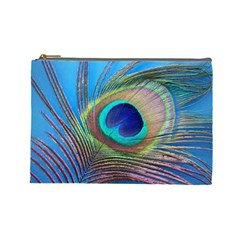 Peacock Feather Blue Green Bright Cosmetic Bag (Large)