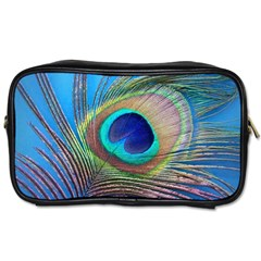 Peacock Feather Blue Green Bright Toiletries Bags