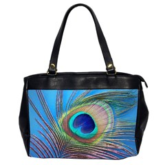 Peacock Feather Blue Green Bright Office Handbags (2 Sides)