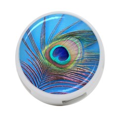 Peacock Feather Blue Green Bright 4 Port Usb Hub (two Sides)