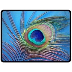 Peacock Feather Blue Green Bright Fleece Blanket (large)