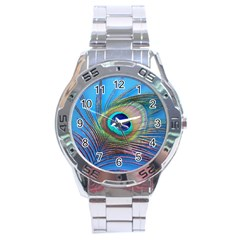Peacock Feather Blue Green Bright Stainless Steel Analogue Watch
