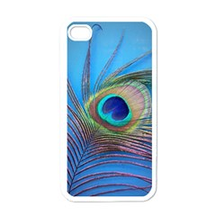 Peacock Feather Blue Green Bright Apple Iphone 4 Case (white)