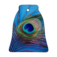 Peacock Feather Blue Green Bright Ornament (bell)