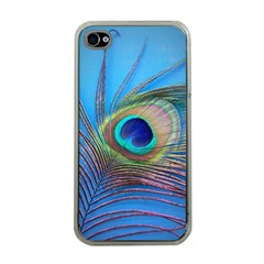 Peacock Feather Blue Green Bright Apple Iphone 4 Case (clear)